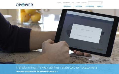 Screenshot of Home Page opower.com - Opower - captured Nov. 5, 2015