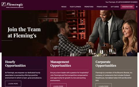 Screenshot of Jobs Page flemingssteakhouse.com - Join our Team - Fleming's Prime Steakhouse & Wine Bar - captured Oct. 10, 2018