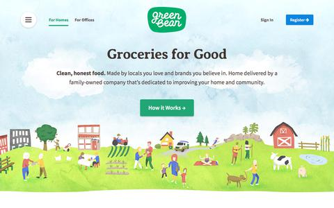 Screenshot of Home Page greenbeandelivery.com - Green Bean Delivery - Organic + Natural Groceries Delivered - captured Jan. 29, 2018