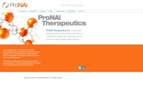 Screenshot of Home Page pronai.com - ProNAi Therapeutics - Employing DNA to Silence Disease - captured Sept. 17, 2014