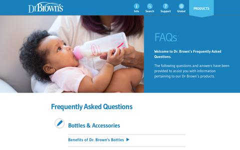 Screenshot of FAQ Page drbrownsbaby.com - Dr. Brown's Baby FAQs - Dr. Brown's Baby - captured June 26, 2017