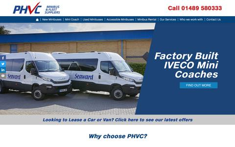 Screenshot of Home Page phvc.co.uk - PHVC: Minibus Leasing & Vehicle Management - captured July 4, 2019
