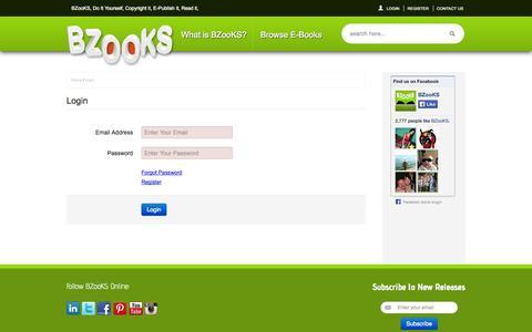 Screenshot of Login Page bzooks.com - login - captured Sept. 30, 2014