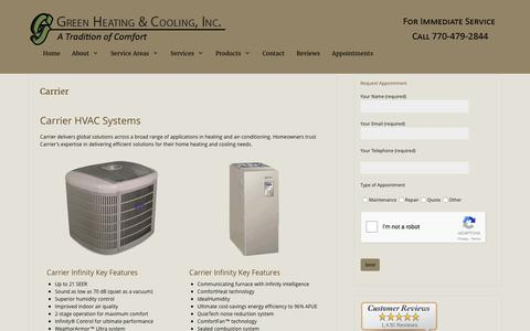 Carrier HVAC Systems by Green Heating and Cooling - Canton, GA