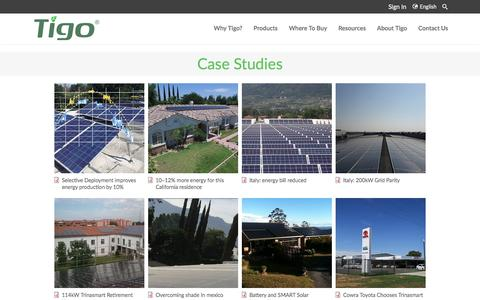 Screenshot of Case Studies Page tigoenergy.com - Case Studies - captured March 29, 2017
