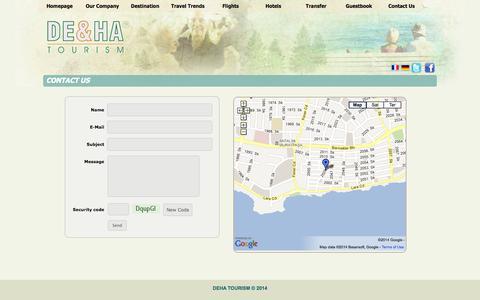 Screenshot of Contact Page dehatourism.com - DEHA TOURISM - captured Sept. 30, 2014