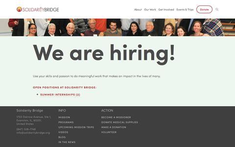 Screenshot of Jobs Page solidaritybridge.org - Careers — Solidarity Bridge - captured April 19, 2018