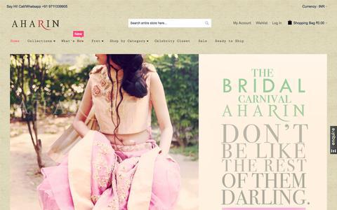 Screenshot of Home Page aharin.com - Buy Aharin India by Prasansha & Ashish pop up shop online - captured Feb. 5, 2016