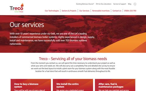 Screenshot of Services Page treco.co.uk - Treco's low carbon technology services | Treco - captured Oct. 20, 2018