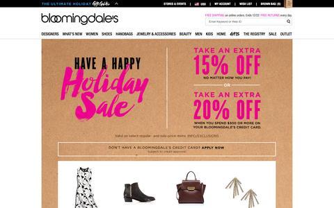 Screenshot of Home Page bloomingdales.com - Shop Bloomingdale's | Designer Dresses, Clothes, Shoes, Handbags, Cosmetics, Home and More - captured Dec. 17, 2015