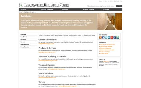 Screenshot of Contact Page Locations Page laresearchgroup.com - Locations | LARG - captured Oct. 22, 2014