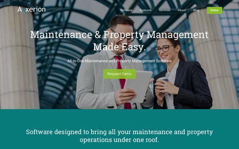 Screenshot of Home Page axxerionusa.com - Home | Axxerion USA - captured Oct. 4, 2018
