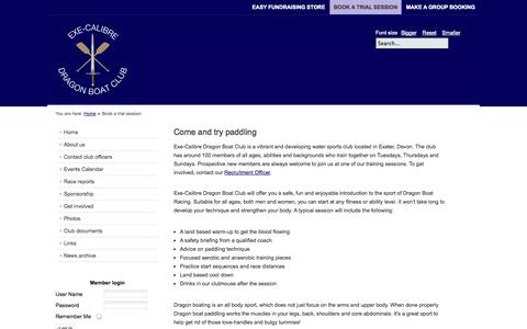 Screenshot of Trial Page execalibre.co.uk - Book a trial session - captured Oct. 3, 2014