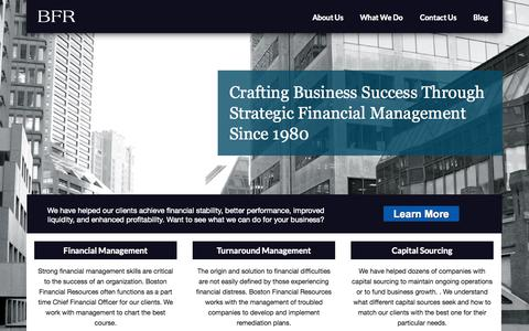 Screenshot of Home Page Menu Page bostonfinancialresources.com - Financial Management Consulting - captured Sept. 30, 2014