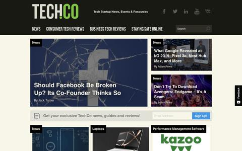 Screenshot of Home Page tech.co - Tech.Co - Tech & Startup Events, News and Resources - captured May 11, 2019