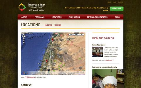 Screenshot of Locations Page tomorrowsyouth.org - TYO Locations | Tomorrow's Youth Organization - captured Nov. 4, 2014