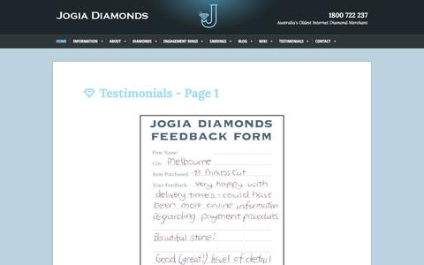 Screenshot of Testimonials Page jogiadiamonds.com.au - Feedback From Our Previous Customers - captured Aug. 29, 2016