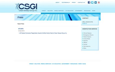 Screenshot of Press Page csgiusa.com - Press | UV Disinfection Services and Education -- Clean Sweep Group Inc - captured Oct. 2, 2014