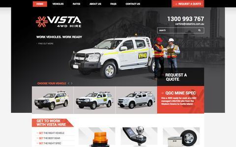Screenshot of Home Page vistahire.com.au - 4x4 Hire and 4WD Ute Rental Brisbane Queensland   Vista 4WD Hire - captured Oct. 7, 2014