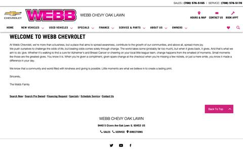 Screenshot of About Page webbchevroletoaklawn.com - About Webb Chevy Oak Lawn | Chevy Dealer Near Chicago - captured Oct. 20, 2018
