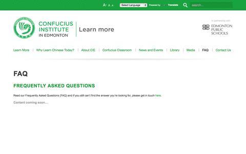 Screenshot of FAQ Page confuciusedmonton.ca - Confucius Institute in Edmonton   FAQ - captured Oct. 2, 2014