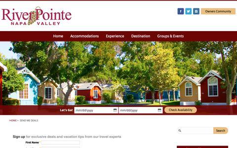 Screenshot of Signup Page riverpointeresort.com - Send Me Deals | RiverPointe Napa Valley - captured Nov. 9, 2018