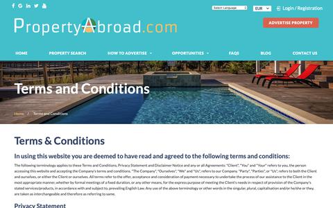Screenshot of Terms Page propertyabroad.com - Home               | PropertyAbroad - captured Oct. 2, 2018
