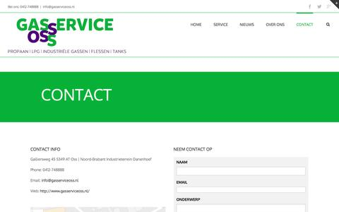 Screenshot of Contact Page gasserviceoss.nl - CONTACT | Gasservice Oss - captured Oct. 28, 2016