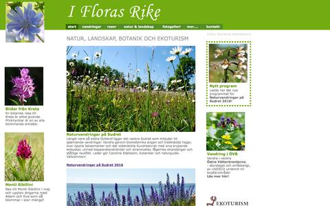 Screenshot of iflorasrike.com - start / I Floras Rike - Naturresor och vandringar, blommor och botanik - captured July 6, 2016