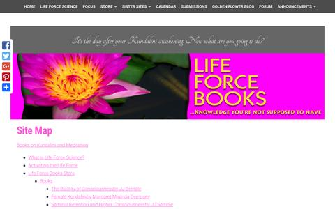 Screenshot of Site Map Page lifeforcebooks.com - Site Map, Guide to Life Force Books, JJ Semple's ideas - captured July 14, 2016