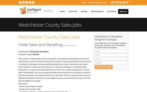 Screenshot of Jobs Page intelligentitdesigns.com - Westchester County Sales Jobs - captured Nov. 26, 2016