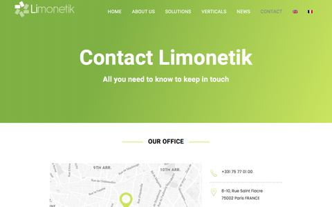 Screenshot of Contact Page limonetik.com - CONTACT - Limonetik - Outsourced payment infrastructure - captured May 9, 2017