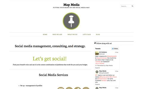 Screenshot of Home Page mapmediagroup.com - Map Media | Putting your brand on the social media map. - captured Jan. 25, 2015