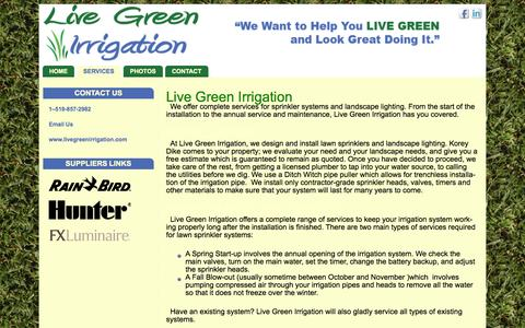 Screenshot of Services Page livegreenirrigation.com - Services offered by Live Green Irrigation | Live Green Irrigaton - captured Sept. 30, 2014