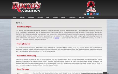 Screenshot of Services Page roccoscollision.com - Services | Rocco's Collision - captured Dec. 1, 2016