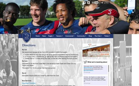 Screenshot of Maps & Directions Page drfc.co.uk - Directions | Doncaster Knights Rugby Football Club - captured Oct. 6, 2014