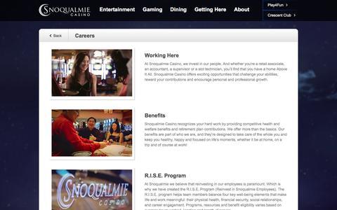 Screenshot of Jobs Page snocasino.com - Careers | Snoqualmie Casino - captured Dec. 2, 2016