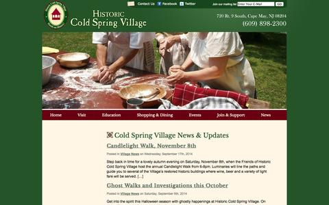 Screenshot of Press Page hcsv.org - News «  Historic Cold Spring Village Cape May County Living History Museum - captured Oct. 2, 2014