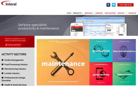 Screenshot of Products Page interal.com - Interal  - CMMS Preventive Maintenance Procurement Inventory Production Softwares - captured Jan. 30, 2016
