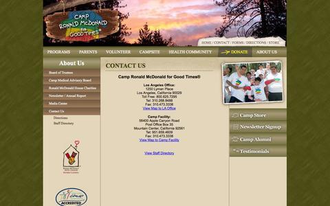 Screenshot of Contact Page campronaldmcdonald.org - Contact Us - captured Oct. 1, 2014