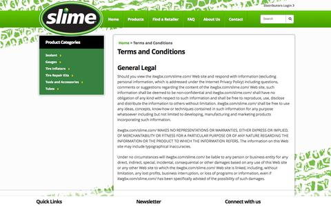 Screenshot of Terms Page slime.com - Terms and Conditions   Slime - captured Oct. 31, 2014