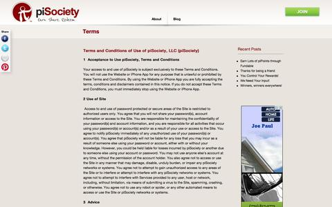 Screenshot of Terms Page pisociety.com - piSociety piSociety » Terms & Conditions - captured Sept. 17, 2014