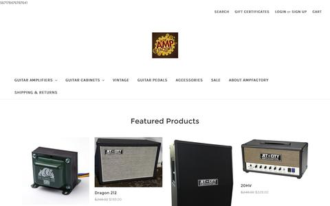 Screenshot of Home Page ampfactory.com - Quality Guitar Amplification at Great Values - captured Dec. 25, 2016