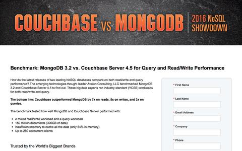 Screenshot of Landing Page couchbase.com - Benchmark: MongoDB 3.0 vs. Couchbase Server 3.0.2 - captured July 14, 2017