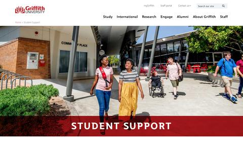 Screenshot of Support Page griffith.edu.au - Student Support - captured Feb. 1, 2020