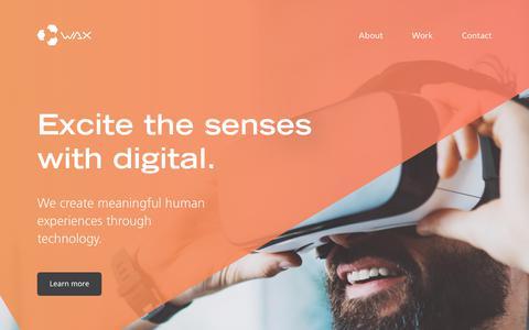 Screenshot of Home Page wax.com.au - Wax Interactive Pty Ltd - captured Oct. 18, 2018