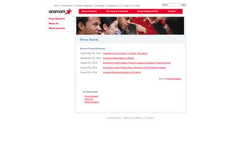 Screenshot of Press Page aramark.com - Press Room - captured Sept. 30, 2014