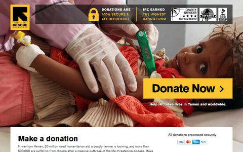 Screenshot of Landing Page rescue.org - Make a donation | International Rescue Committee - captured Sept. 4, 2017