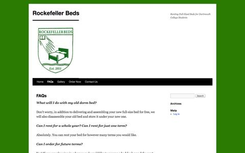 Screenshot of FAQ Page rockefellerbeds.com - Frequently Asked Questions | Rockefeller Beds - captured Oct. 1, 2014
