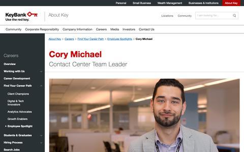 Screenshot of Jobs Page key.com - Cory Michael | KeyBank - captured April 19, 2019